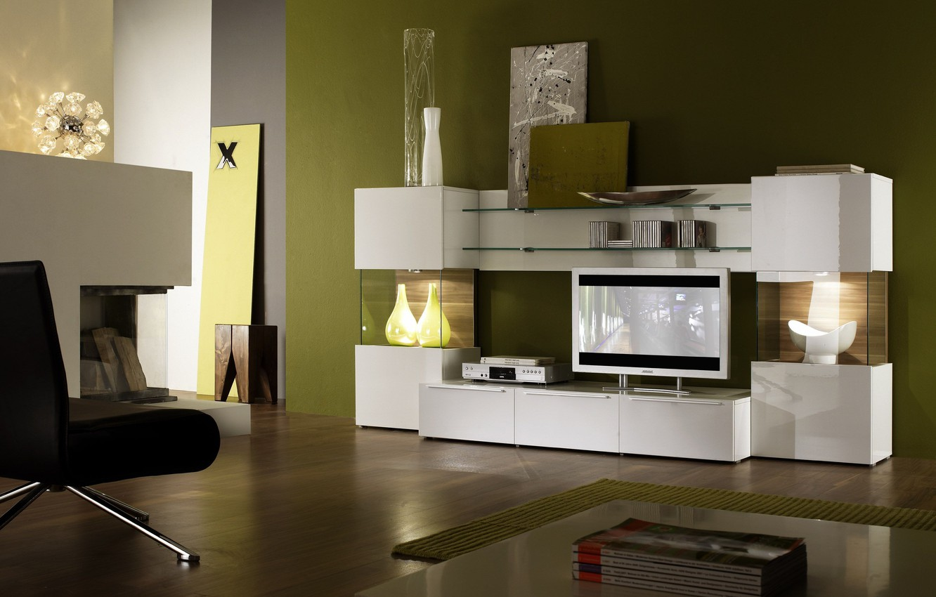 Photo wallpaper design, house, style, interior, living room, living room with green decor