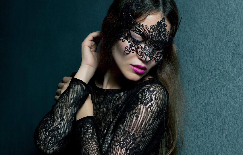 Photo wallpaper girl, face, model, makeup, lipstick, mask