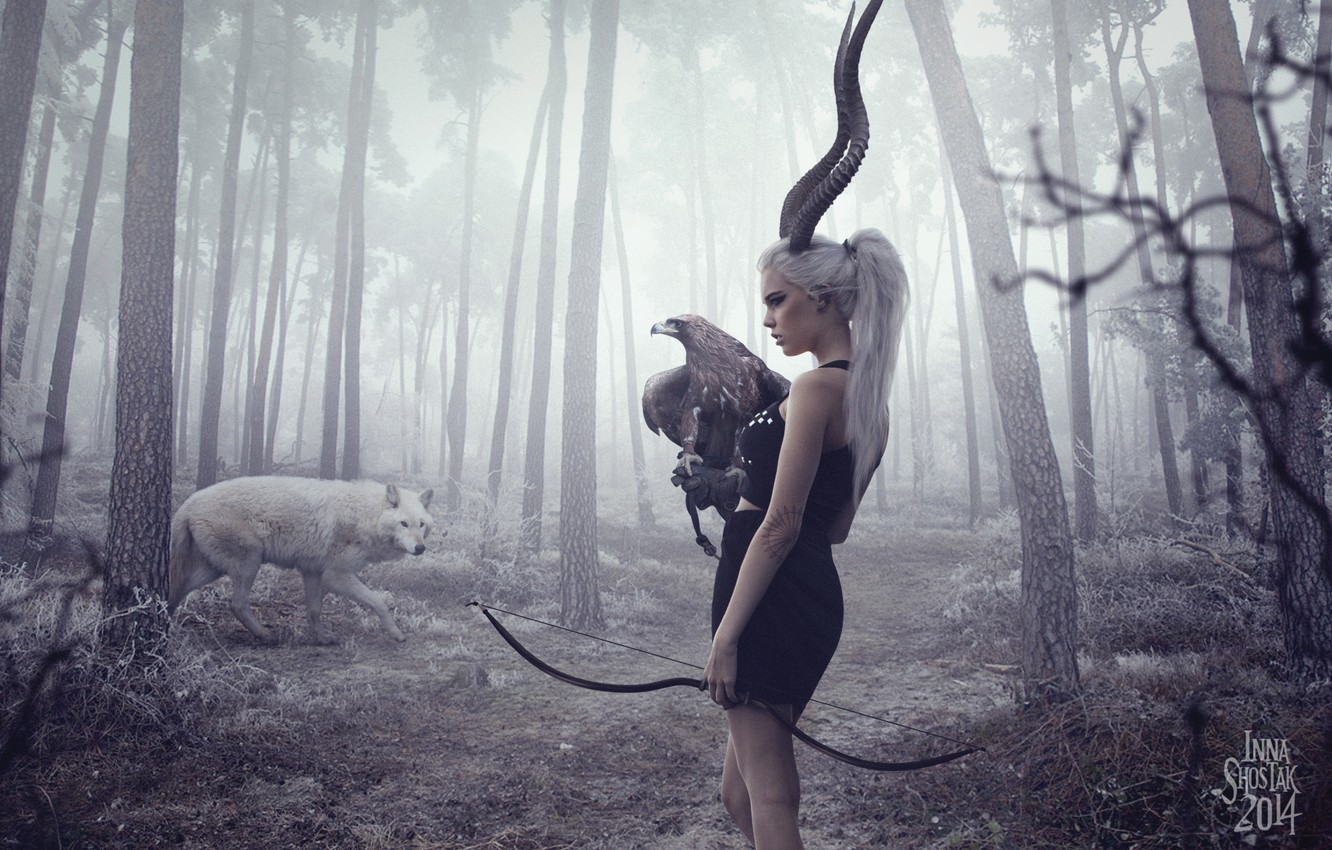 Photo wallpaper forest, girl, trees, eagle, wolf, bow, horns, arrows, hunter, crossbow