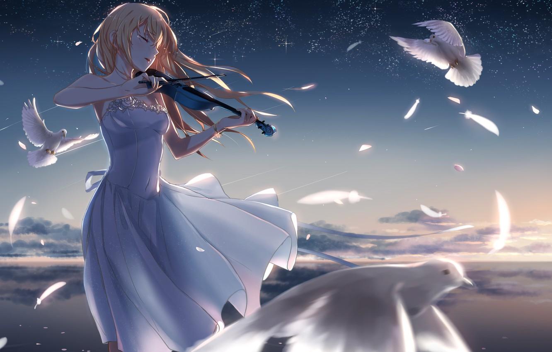 Photo wallpaper girl, stars, violin, feathers, pigeons, phantania, Shigatsu wa Kimi no Uso, Your April lie, Kaori …