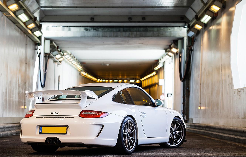 Photo wallpaper white, 911, 997, Porsche, the tunnel, white, Porsche, gt3, tunnel, back