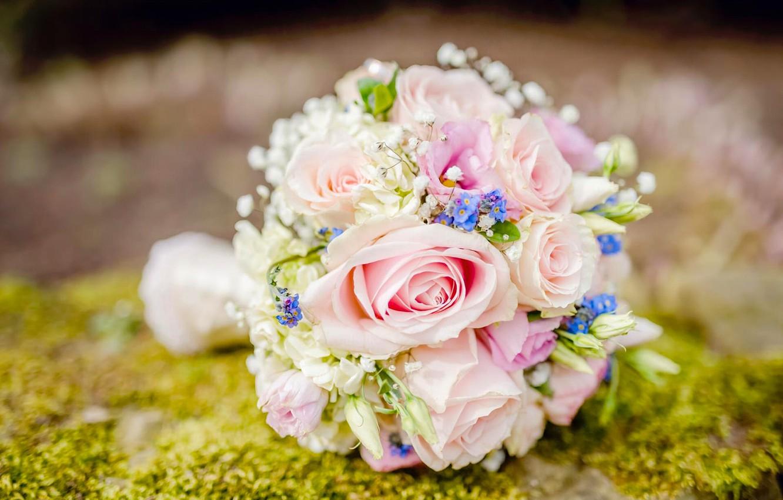 Photo wallpaper roses, bouquet, forget-me-nots, wedding bouquet