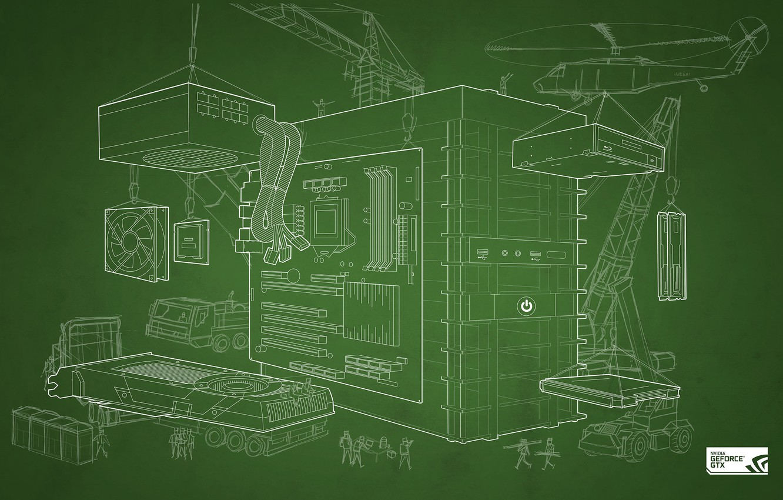 Photo wallpaper GTX, GeForce, NVIDIA, DIY Blueprint Wallpaper