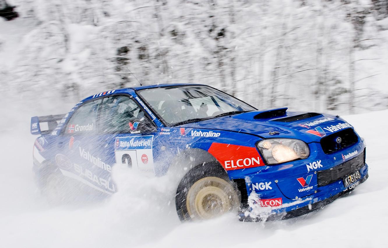 Photo wallpaper Winter, Auto, Blue, Subaru, Impreza, Snow, Sport, Machine, Race, wrx, WRC, Subaru, Rally