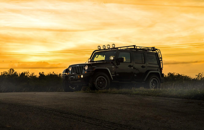 Photo wallpaper car, jeep, SUV, black, jeep wrangler, sahara