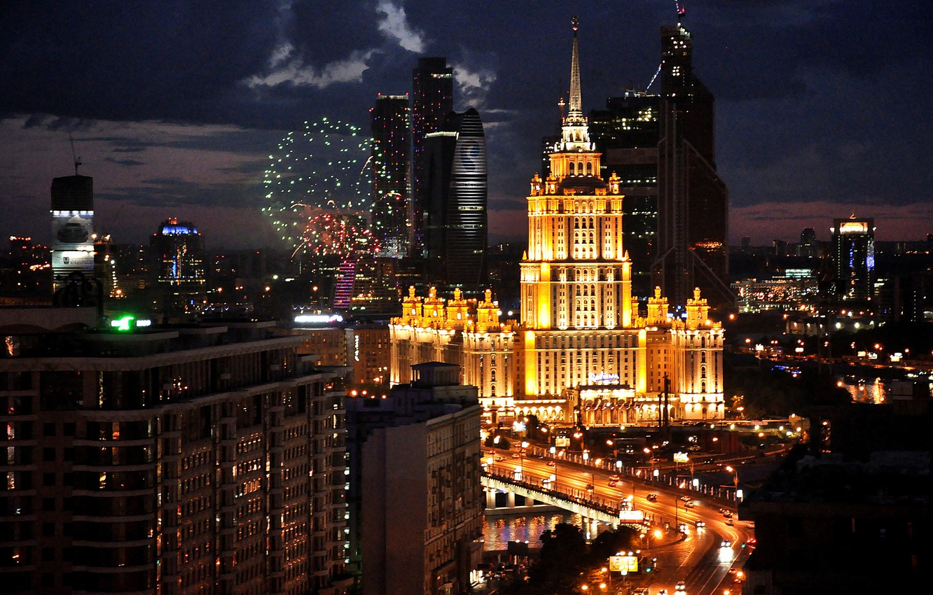 Wallpaper Night Moscow Russia Russia Moscow Night Light