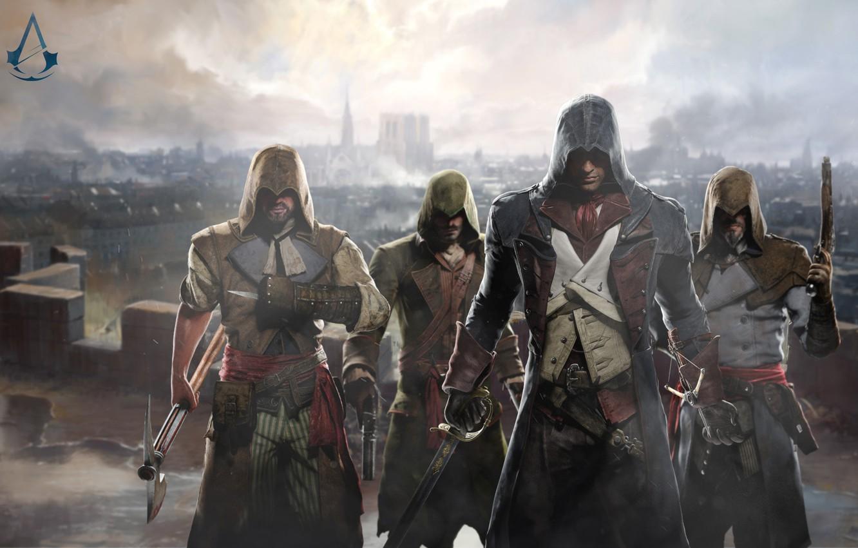 Photo wallpaper gun, sword, axe, art, assassins, Assassin's Creed: Unity