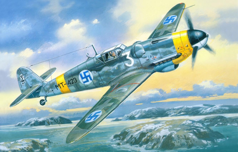 Photo wallpaper the sky, war, fighter, Art, Messerschmitt, German, piston, single-engine, Bf.109, G-6, fascist, Finnish air force