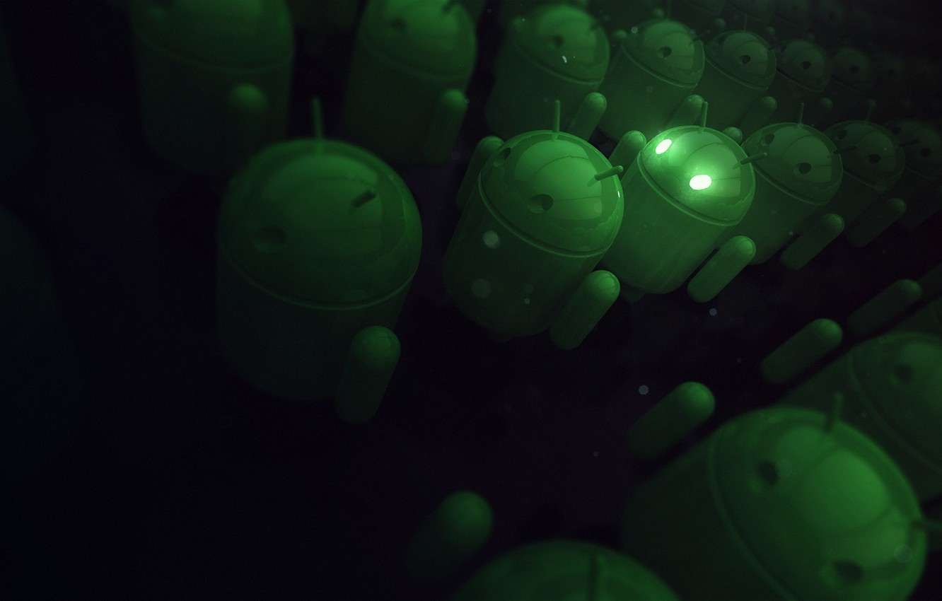 Photo wallpaper green, Android, android, Rendering