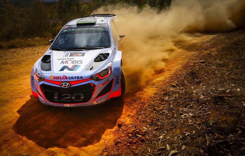Photo wallpaper Dust, Hyundai, WRC, Rally, Rally, i20, Hyundai