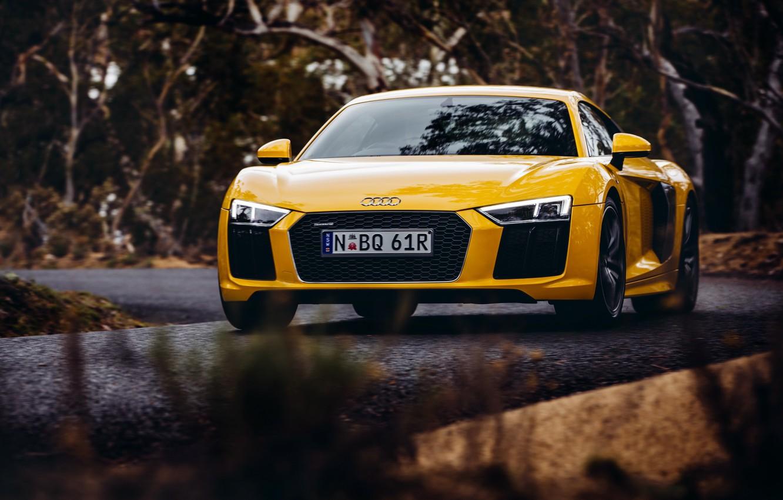 Photo wallpaper yellow, Audi, Audi, car, the front, V10
