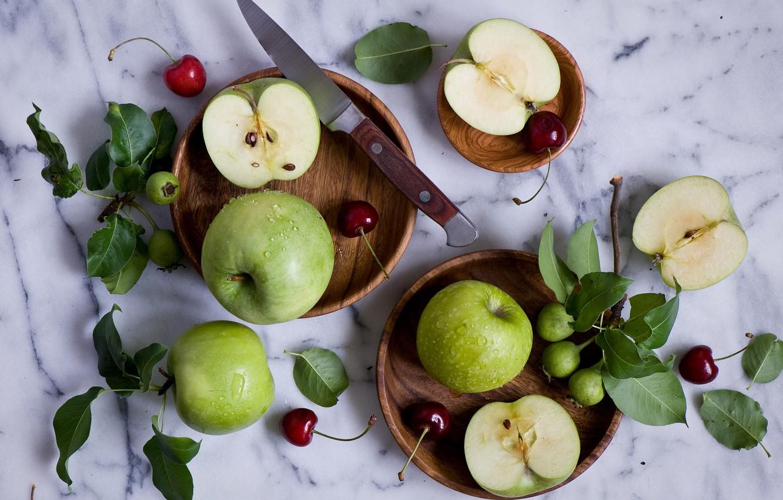 Photo wallpaper berries, apples, knife, leaves, still life, cherry
