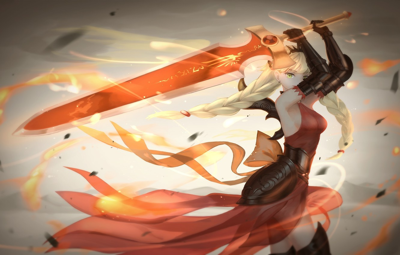 Photo wallpaper girl, weapons, fire, magic, sword, anime, art, valkyrie, tsuru any noki, puzzle and dragons