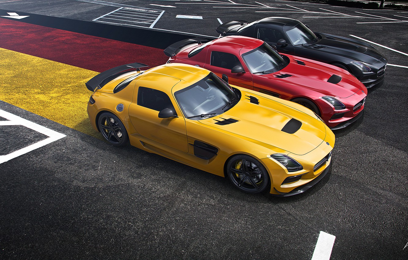 Photo wallpaper Mercedes-Benz, German, Red, AMG, Black, SLS, Yellow, Widescreen, Flag, Supercar, Black Edition, Asphalt