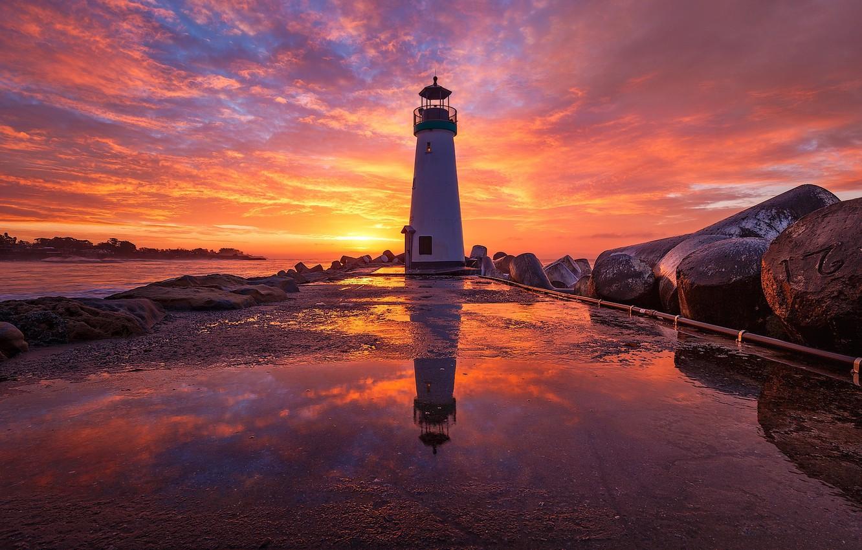 Photo wallpaper sea, sunset, lighthouse, pierce, AGON