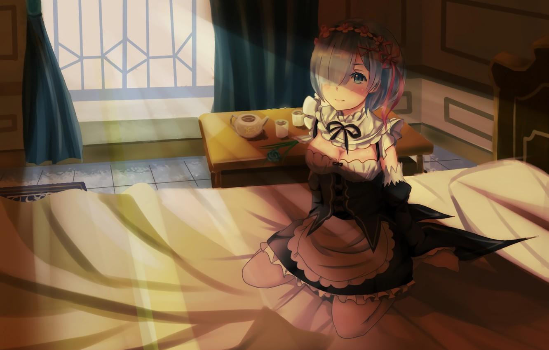 Photo wallpaper girl, the demon, sitting, anime, the maid, art, Rem, Re: Zero kara hajime chip isek …