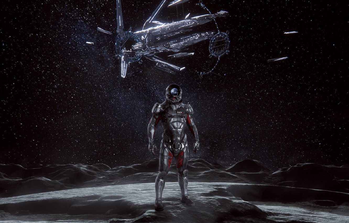 Photo wallpaper moon, Andromeda, Mass Effect, hyperion, ryder, n7