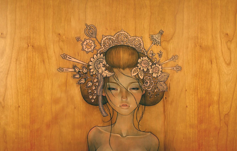 Photo wallpaper girl, tree, figure
