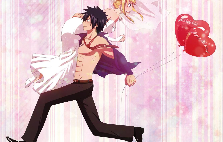 Photo wallpaper girl, anime, art, guy, balloons, fairy tail, tale of fairy tail, gray fullbuster, lucy heartfilia, …