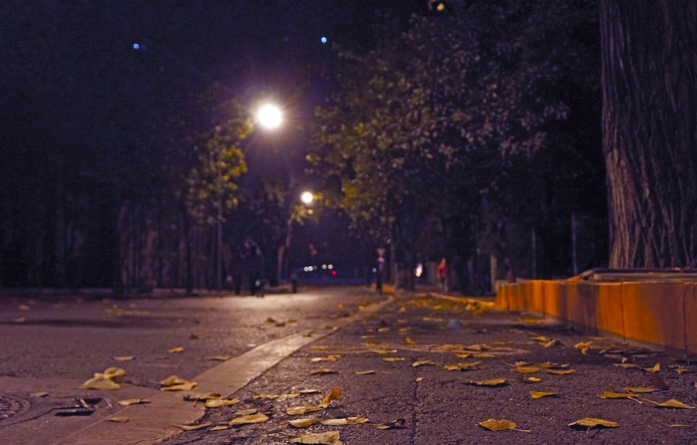 Photo wallpaper asphalt, foliage, Street, border, lantern, bokeh