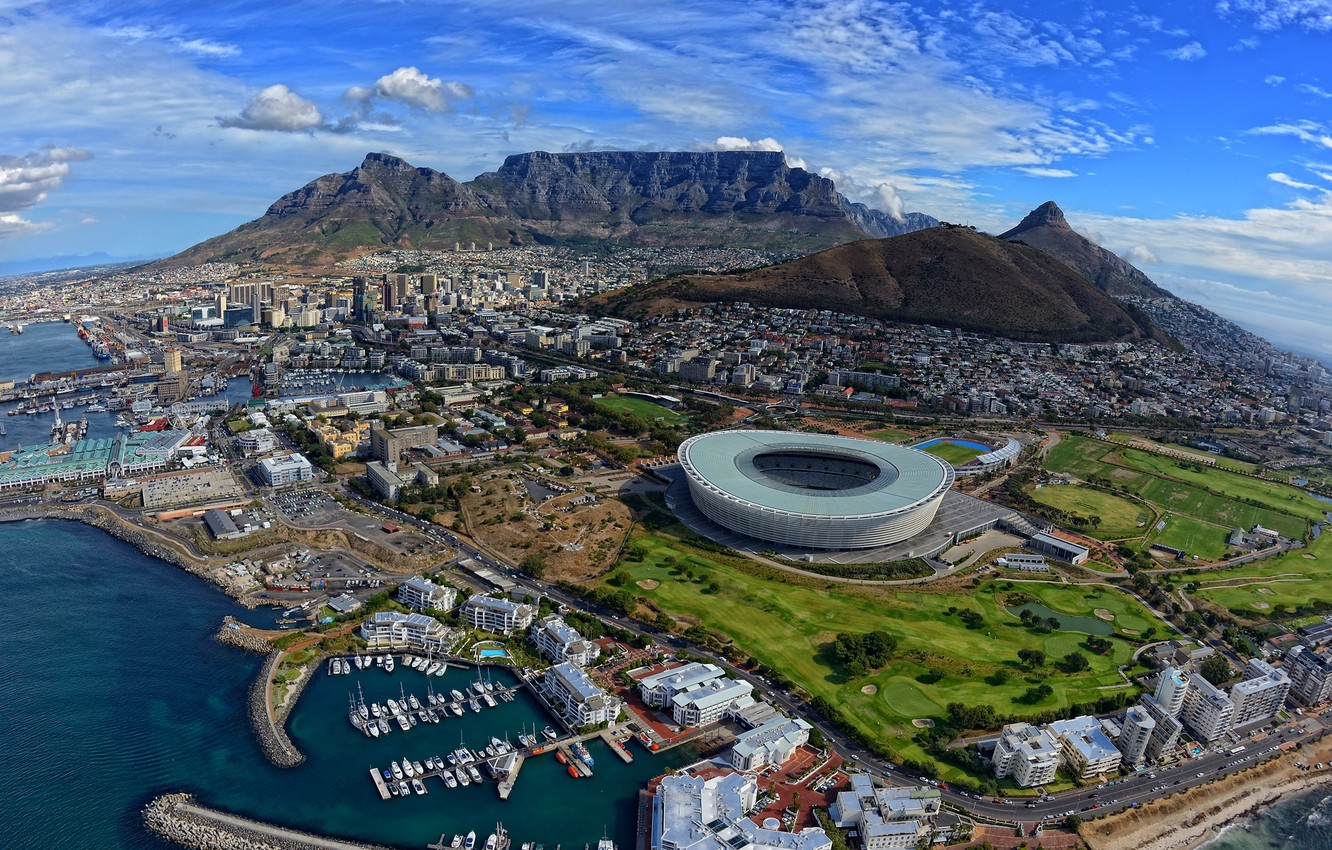 Photo wallpaper winter, sea, mountains, the city, the ocean, home, yachts, boats, South Africa, stadium, South Africa, …