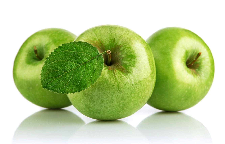 Photo wallpaper apples, green, white background, fruit, apples