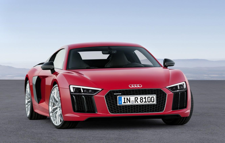 Photo wallpaper red, Audi, Audi, V10, 2015