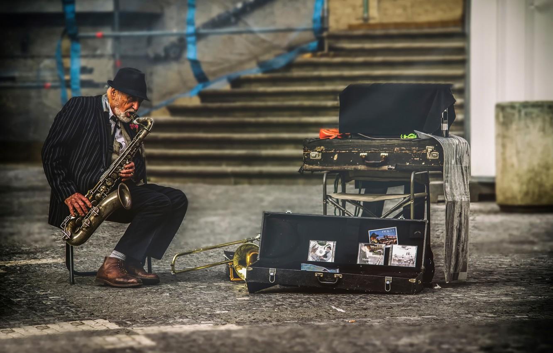 Обои saxophone, музыка, street. Музыка foto 13