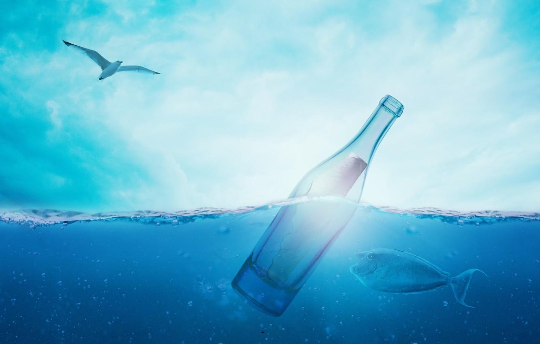 Photo wallpaper sea, the sky, water, bubbles, blue, bird, bottle, fish, Seagull, note