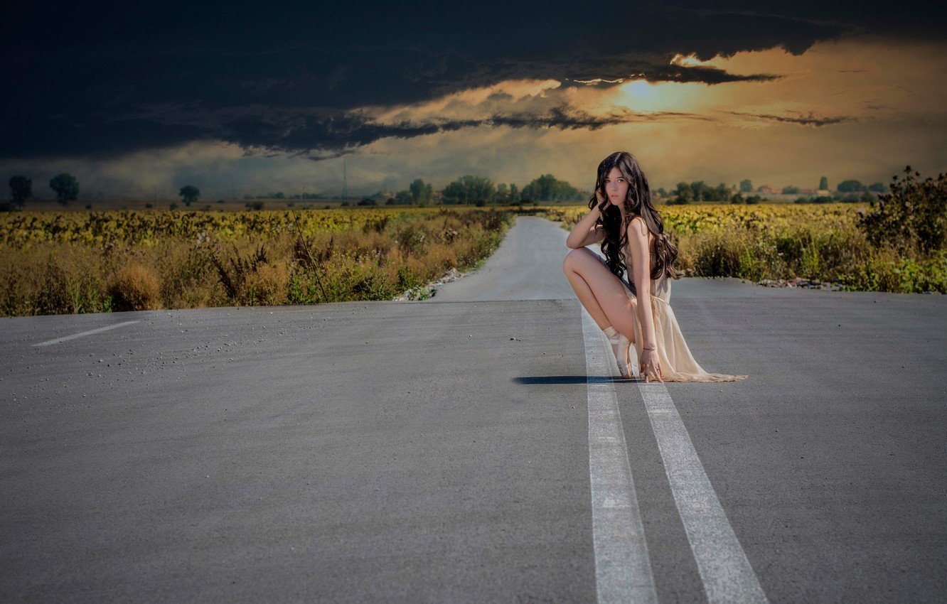 Photo wallpaper road, the sky, clouds, girl, ballerina, Pointe shoes