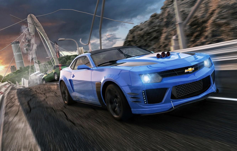 Photo wallpaper Bridge, Blue, Chevrolet, Muscle, Camaro, Chevrolet, Camaro, Car, Blue, Bridge, ZL1, Kar, Supercharger, Supercharger, Oil