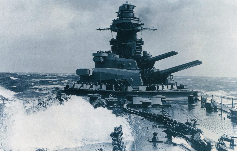 Photo wallpaper guns, sea, war, retro, France, battleship, Richelieu