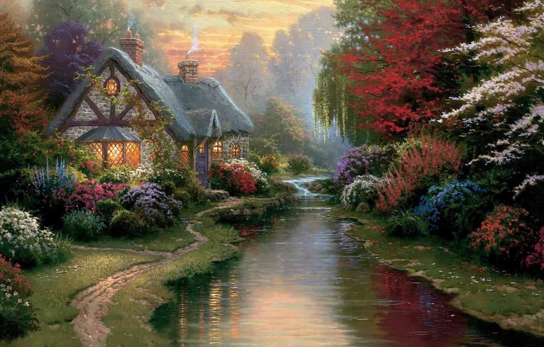 Photo wallpaper light, sunset, flowers, stream, the evening, painting, cottage, path, stone, painting, Thomas Kinkade, Kinkade, A …