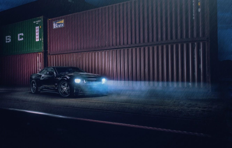Photo wallpaper Chevrolet, Camaro, Car, Night, Tuning, Evening, Sportscar