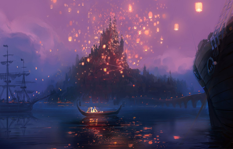 Photo wallpaper night, bridge, lights, river, castle, boat, figure, cartoon, ships, art, lights, Rapunzel, Tangled, Flynn, Rapunzel, …