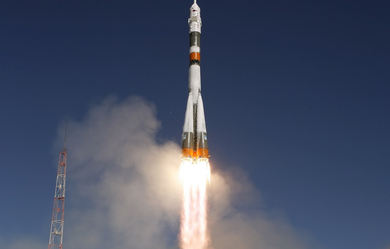 Photo wallpaper flame, rocket, start, Soyuz TMA-16