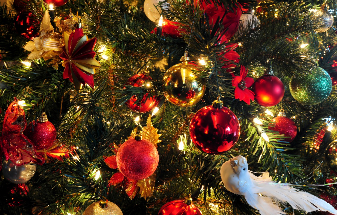 Photo wallpaper holiday, butterfly, star, tree, new year, ball, Christmas, garland, dove