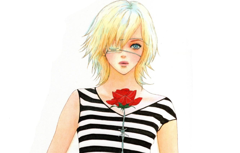 Photo wallpaper blonde, white background, red rose, barbed wire, eye patch, bangs, Omae ga Sequence o Kowashitai …