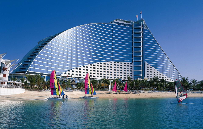Photo wallpaper BEACH, DESIGN, WINDOWS, FORM, SAILS, The BUILDING, COAST, RESORT, TOURISM, CATAMARANS, SURFERS