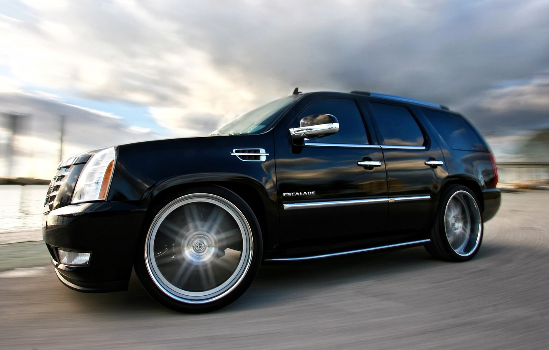 Photo wallpaper Cadillac, Black, Wheel, Machine, Tuning, Speed, Turn, Car, Escalade, Car, Speed, Black, Wallpapers, Tuning, Beautiful, …