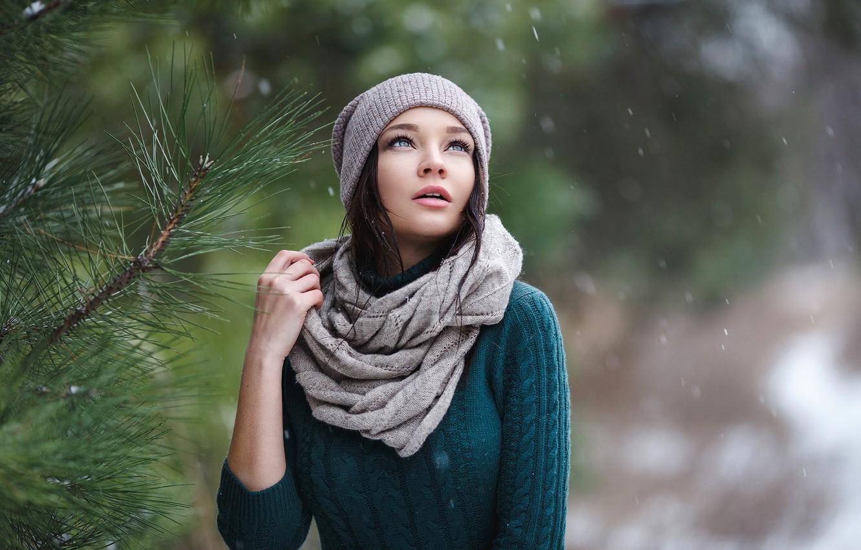 Photo wallpaper look, girl, tree, tree, cap, the first snow, Denis Petrov, Angelina Petrova