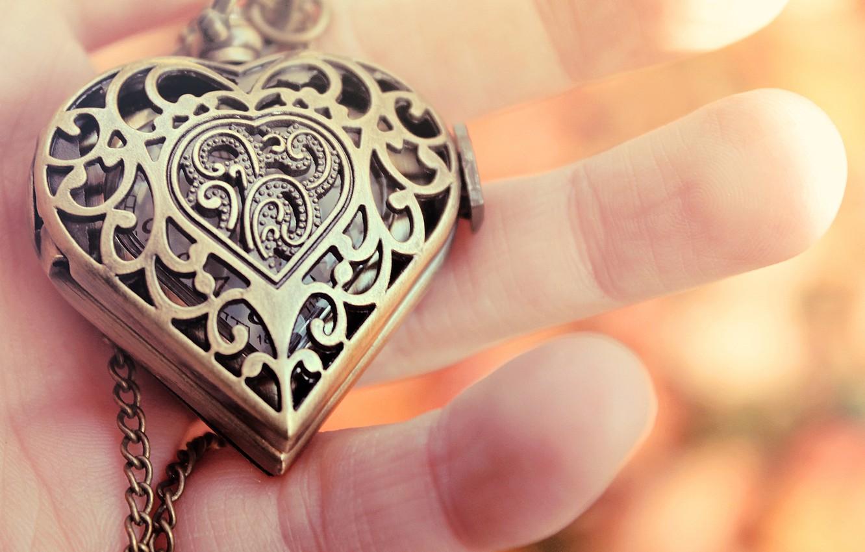 Photo wallpaper heart, hand, pendant, fingers, decoration