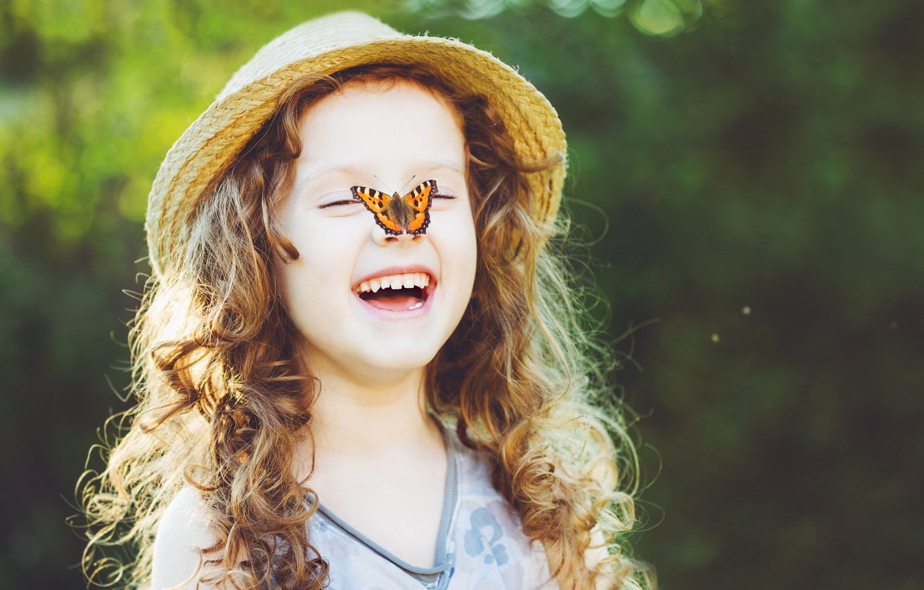 Photo wallpaper butterfly, nature, children, childhood, sweetheart, child, spring, blonde, happy, nature, beautiful, butterfly, beautiful, spring, child, …