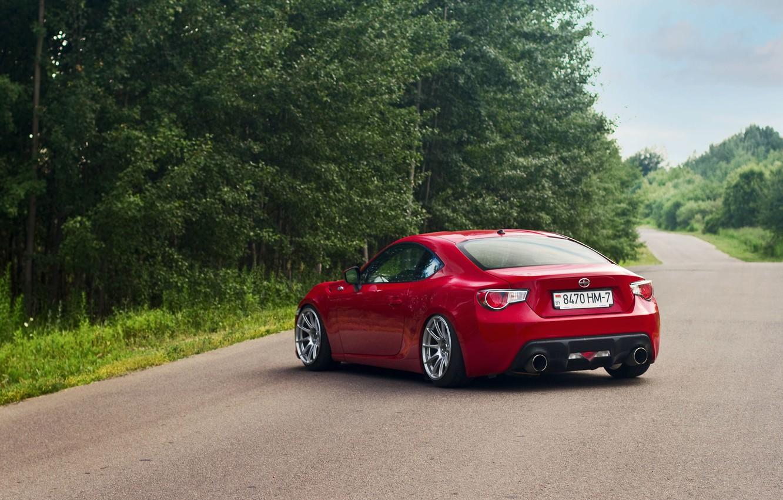 Photo wallpaper Red, Car, Sport, Summer, Road, FR-S, Scion, Rear
