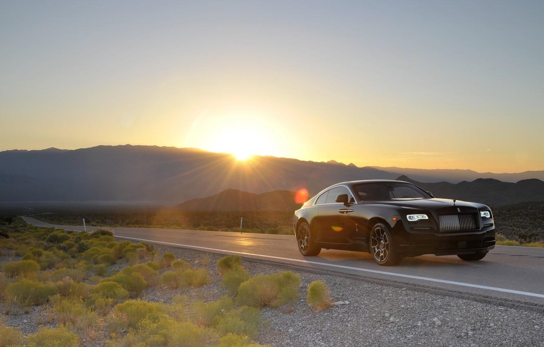 Photo wallpaper road, car, machine, the sun, Rolls-Royce, light, auto, sun, Wraith, Black Badge