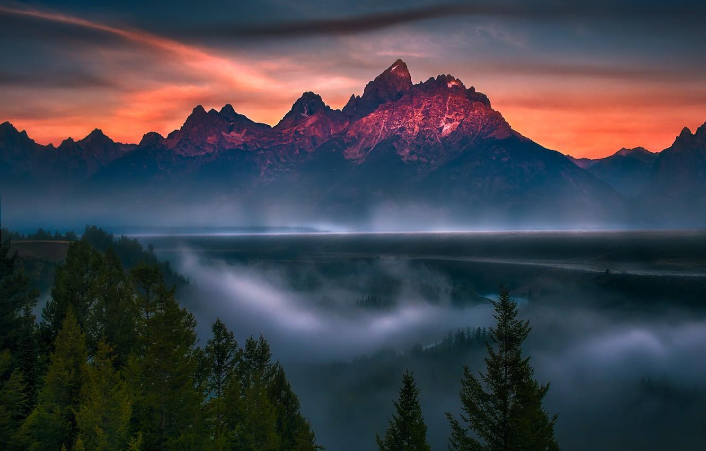 Photo wallpaper Clouds, Sky, Blue, Sun, Water, Snake, Mountains, Summer, River, Travel, Fog, Trees, National Park, Grand …