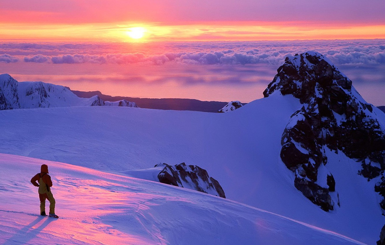 Photo wallpaper clouds, mountains, Sunset