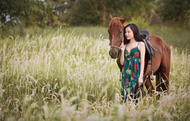 Photo wallpaper girl, nature, horse, walk, Asian