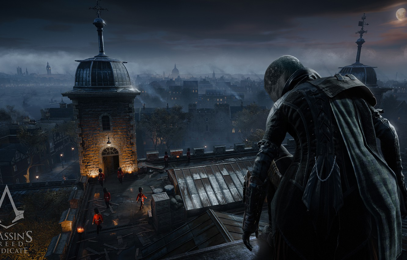 Photo wallpaper London, Night, The game, Assassins Creed, Hood, Game, Assassin, Syndicate, Jacob