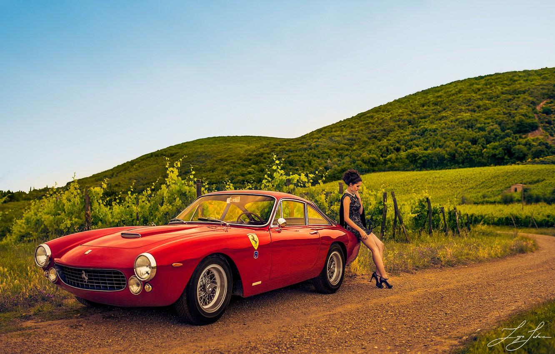Photo wallpaper road, girl, the vineyards, Ferrari 250